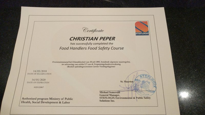 certificate as food handler and food safety